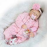 CanKun CHEST 55Cm Reborn Baby Dolls Vinilo Silicona Suave Bebés Renacidos con Ojos Grises Muñeca Bebés Recién Nacidos Reborn con Biberón Edad 4-6 Años