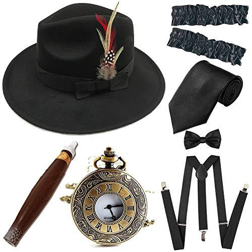 DELUXE PINSTRIPE GANGSTER HAT BRACES AND TIE TRILBY FEDORA FANCY DRESS 3 PC SET