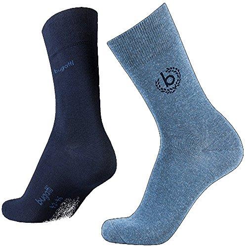 bugatti Mens Icon Socks 2er Pack 6762 434 light denim melange blau Strumpf Socke, Größe:39-42