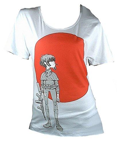 Amplified Damen Lady T-Shirt Oversize Weiss White Official Gorillaz Merchandise Noodle Sun Logo Rock Star Vintage Print VIP S 36/38