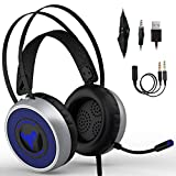 IMBA V8 Gaming Headset for 3D Surround Sound, PS4 Xbox One Headset | Noise Cancelling Mic Chat Headset, Over-Ear Gaming Headphones for PC, Xbox One, PS3, PS4, Nintendo Switch