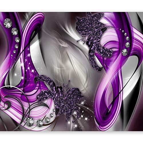 murando Fototapete 350x256 cm Vlies Tapeten Wandtapete XXL Moderne Wanddeko Design Wand Dekoration Wohnzimmer Schlafzimmer Büro Flur Blumen Abstrakt Diamant Violett Grau Blitz a-A-0221-a-d