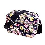 Goddessvan Fashion Women Floral Canvas Crossbody Bag Shoulder Bag Messenger Bag Cosmetic Bag Blue