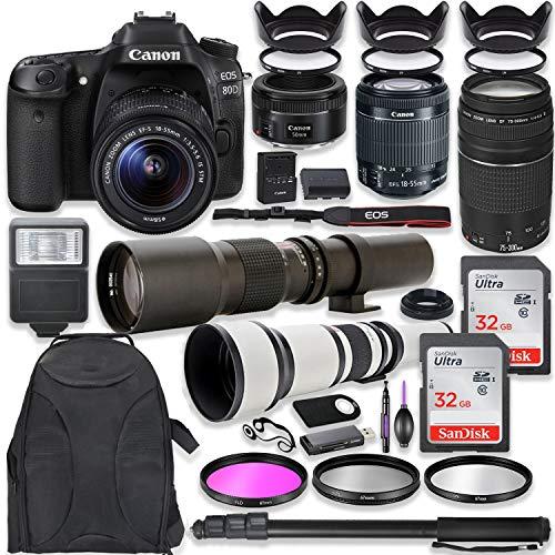 Canon EOS 80D DSLR Camera with 18-55mm Lens Bundle EF 75-300mm III Lens, 50mm f/1.8, 500mm Lens & 650-1300mm Lens Backpack + 64GB Memory + Monopod + Professional Bundle