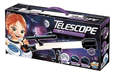 Age Minimum: 8 ans Description du produit: Un télescope avec une notice de 30 activités pour découvrir le ciel étoilé ! Avec tous les accessoires pour l'observation nocturne : trépied de sol de 89 cm, lentille de 50 mm de diamètre, objectif chercheur...