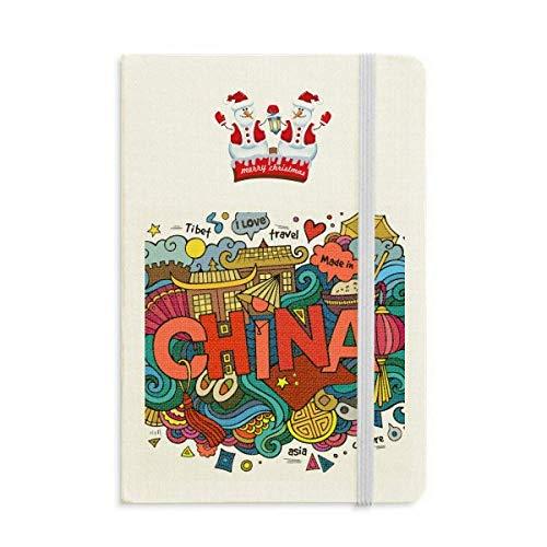 Notizbuch, Motiv: Chinesische Reisekunst, Motiv: Schneemann, dick, Hardcover, hergestellt in China