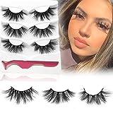 Mink Lashes, 20mm to 25mm Fake Eyelashes, 3 Styles 3 Pairs, Long and Dramatic False Eyelashes for Makeup, Full Strip Fluffy 3D Mink Eyelashes, Handmade Eye Lashes, hotbanana