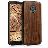 kwmobile Bumper Schutzhülle kompatibel mit Motorola Moto G6 - Holz Hülle Handy Hülle Cover Dunkelbraun
