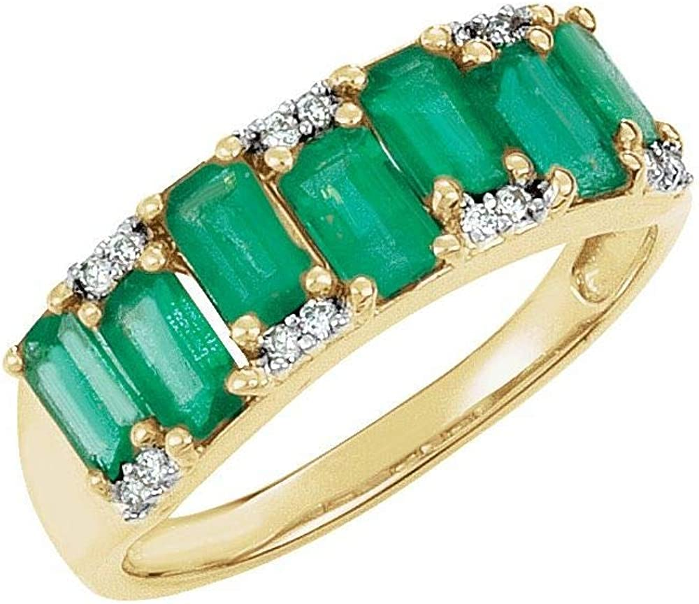 Solid 14k Yellow Gold 5 Atlanta Mall x 3mm .07 Spasm price and Ring Diamond Cttw Emerald