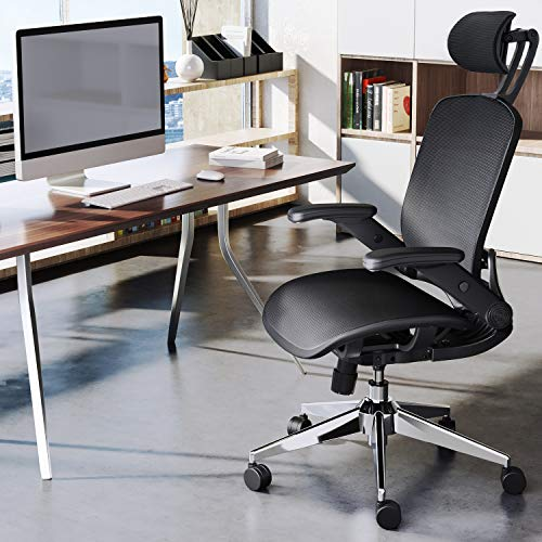 Ergonomic Office Chair, High Back Desk Chair Mesh Computer Chair with Adjustable Headrest and Flip-up Armrests, Swivel Rolling Home Executive Task Chair
