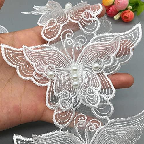 Pearl Blanca Mariposa Bordado Cordón Tela de Cinta Dama Vestido de Novia Hecho A Mano DIY Suministros de Costura Artesanía 5X (Color : Blanco, Talla : 7.5 * 11cm)