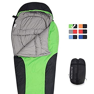 Sleeping Bag – Camping Mummy Lightweight,Waterproof,Comfort With Compression Sack–Tent Sleeping Bags Suitable for Winter, Camping,Hiking,Outdoor Activities (Grass Green & Black / Right Zip, Mummy)