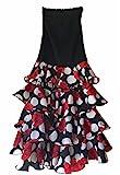 Falda Flamenco Danza Sevillane mujer Lujo negro con rosas y volantes (Talla XL)