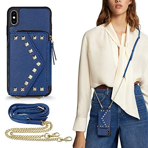 LAMEEKU iPhone Xs Max Crossbody Wallet Case, Sleek & Magnetic Clasp iPhone Xs Max Zipper Leather Case with Card Holder Wrist Strap, Shockproof Kickstand Purse for iPhone Xs Max, 6.5 inch- Navy Blue