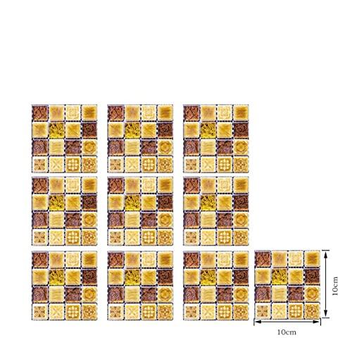 Paquete de 10 pegatinas de azulejo de cristal 3D autoadhesivo de baño pegatinas de azulejos impermeables Pegatinas de azulejos de mosaico Pegatinas de azulejos de mosaico 10 x 10 cm ( Color : 8 )