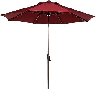 Abba Patio Outdoor Patio Umbrella 9 Feet Patio Market Table Umbrella with Push Button Tilt and Crank, Red