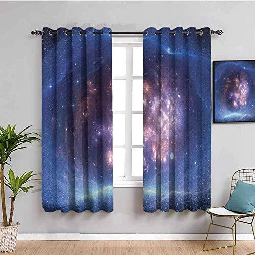 LucaSng Cortinas de Opacas - Azul Cielo Estrellado Planeta Galaxia - 183x160 cm para Sala Cuarto Comedor Salon Cocina Habitación - 3D Impresión Digital con Ojales Aislamiento Térmico Cortinas
