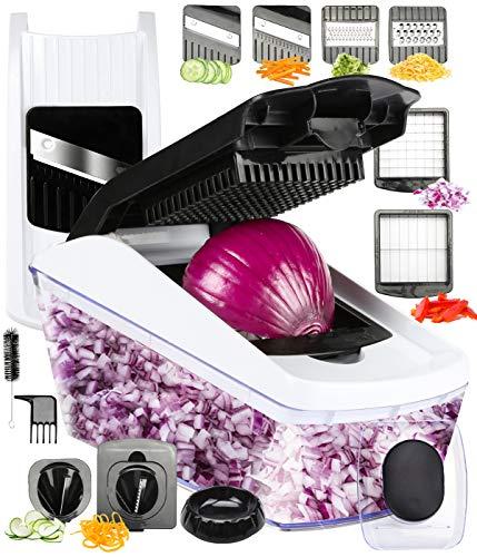 FAVIA Vegetable Chopper Pro Mandoline Julienne Slicer Veggie Spiralizer Cheese Shredder with Container Fruit Cutter with 8 Blades BPA Free Dishwasher Safe (Black + White)