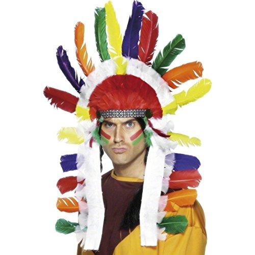 NET TOYS Parure de tête Chef de Tribu Indienne avec Plumes Plusieurs Couleurs Parure Bijoux à Plumes Indien Bijoux de Cheveux Coiffe à Plumes Accessoire déguisement Bijoux