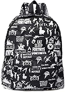 Fortnite Graffiti Printed Fashion Backpack Fortnite Game Student Schoolbag Bookbag Canvas Zipper Daypack black color