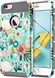 ULAK iPhone 6s Plus Case, iPhone 6 Plus Case, Slim Dual Layer Protection Scratch Resistant Hard Back Cover Shockproof TPU Bumper Case for Apple iPhone 6 Plus/6S Plus 5.5 inch (Mint Floral)