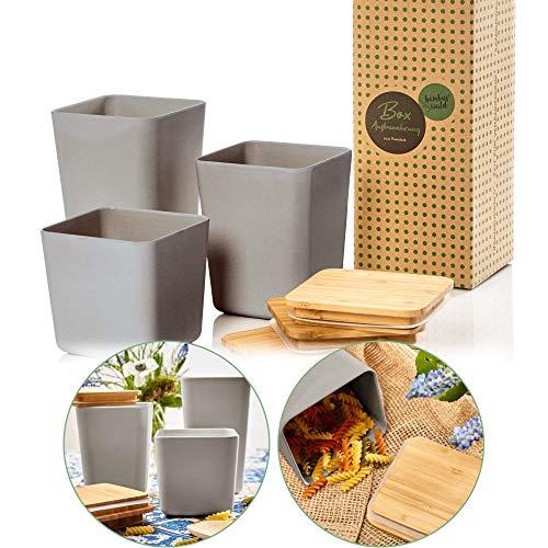 bambuswald© ökologische Vorratsbehälter mit luftdichten Deckel aus Bambus | Aufbewahrungsbox in 3x Größen zur Auswahl (1,4L | 1,1L | 0,9L) - Küchendosen Aufbewahrungsdose Vorratsgläser Vorratsdosen