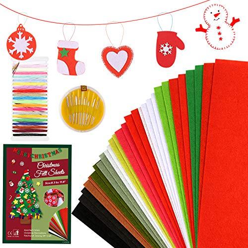 Pllieay, 30 fogli di tessuto in feltro natalizio con aghi e fili, 21,1 x 30 cm (formato A4), spessore 1 mm, multiuso per fai da te e decorazioni natalizie, 12 colori