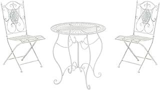 Conjunto de Mesa & 2 Sillas Plegables Aldeano I Juego de Mesa & Sillas para Jardín I Conjunto de Muebles de Jardín en Hierro Galvanizado I Color:, Color:Blanco Envejecido