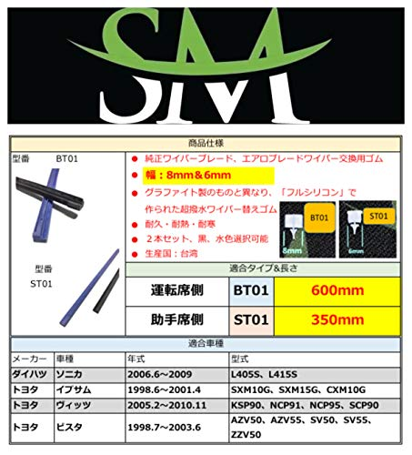 SM超撥水シリコンワイパー替えゴム 幅8mm(運転席) & 6mm(助手席) ソニカ L405S L415S イプサム SXM10G SXM15G CXM10G ヴィッツ KSP90 NCP91 NCP95 SCP90 ビスタ AZV50 AZV55 SV50 SV55 ZZV50 ビスタ アルデオ AZV50G AZV55G SV50G SV55G ZZV50G ベルタ KSP92 SCP92 NCP96 ポルテ NNP10 NNP11 NNP15 ラクティス NCP100 NCP105 SCP100 ノート E11 NE11 ZE11 ストリーム RN1 RN2 RN3 RN4 RN5 パートナー GJ3 GJ4 デミオ DE3AS DE3FS DE5FS DEJFS 用 600mm + 350mm 2本セット車用 ワイパー 純正ワイパー グラファイトワイパー エアロレインワイパー 鉄ワイパーブレード向け 交換用ワイパーゴム 車種専用セット BT01 & ST01 (水色)