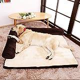 Yuly Cama ortopédica para perros y gatos, 105 x 90 cm, colchón de espuma viscoelástica de felpa, relleno de alta elasticidad, funda de pana suave para perros grandes, desmontable y lavable