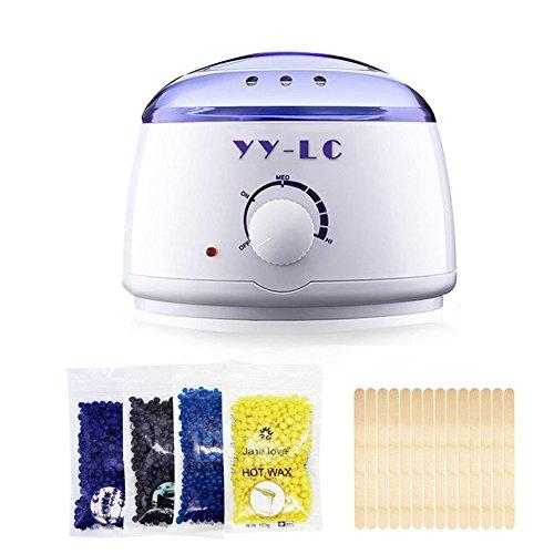 YY-LC Wax enthaarung, Wachswärmer / Wachserhitzer Elektro-Wachs-Heizung Haarentfernung Waxing Kit, 4x100g Hartwachsbohnen +20 Wax Sticks