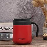 Xiaobing Tazza da caffè in acciaio inossidabile con manico tazza portatile a portata di mano tazza da ufficio aziendale -rosso-500ML-G1122
