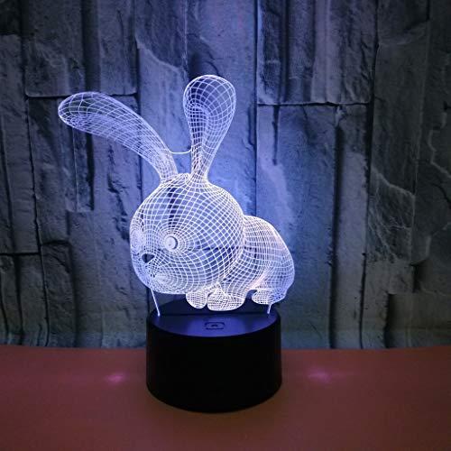 Lámpara Escritorio Lámpara linda dibujos animados conejo led lámpara colorido gradiente 3d estereoscópico táctil remoto usb noche luz de noche creativo decorativo escritorio cumpleaños vacaciones rega