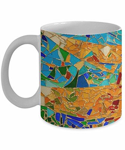Gaudi Mosaic Coffee Mug, White, 11 oz - Unique Gifts By huMUGous