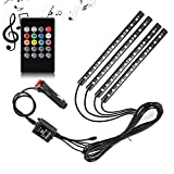 Adecorty ADCLS01 4pcs 48 LED Car LED Strip Light DC 12V Multicolor Music Car Interior Light LED Under Dash Lighting Kit with Sound Active Function and Wireless Remote Control, Car Charger Included