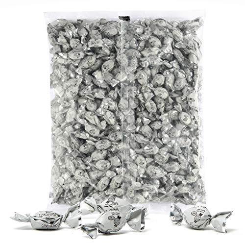 White Foils Hard Candy, 1.32 Pounds Bag of White Color Themed Kosher Mini Candies Individually Wrapped Green Apple Fruit-Filled Flavored Candy (NET WT 600g, About 310 Pieces)