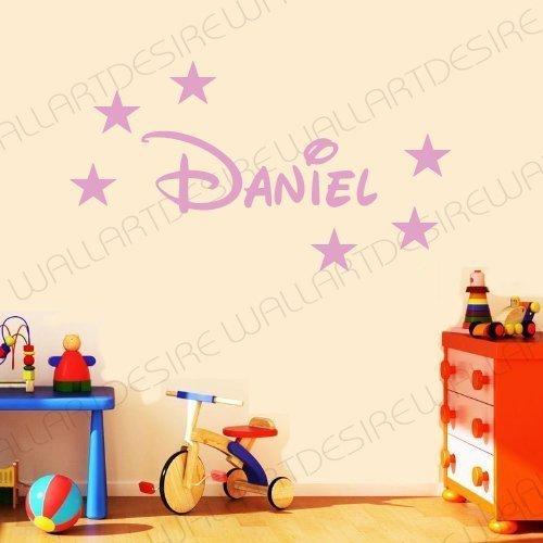 Pegatinas decorativas de pared estilo Disney con nombre personalizado y estrellas disponibles en 24 colores - Rosa bebé, 20 CM X 60 CM