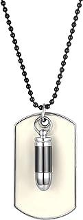 Jewelrywe Gioielli Collana con Pendente da Uomo, Ciondolo, Catenina 70.5cm, Proiettile Militari, Dog Tag Stile Esercito, L...