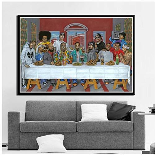 A&D Das Letzte Abendmahl Hip Hop Musik Rapper Star Legend Poster Und Drucke Kunst Malerei Leinwand Wandbilder Für Wohnzimmer Wohnkultur-50x100 cm Kein Rahmen