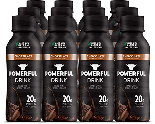 Powerful Drink – Protein Shake, Meal Replacement Shake, Greek Yogurt, Gluten Free, Ready to Drink, 20g Protein, Chocolate, 12 Pack