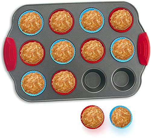 Boxiki Kitchen 12-Cup Mini Muffin Pan With Silicone Muffin Cups