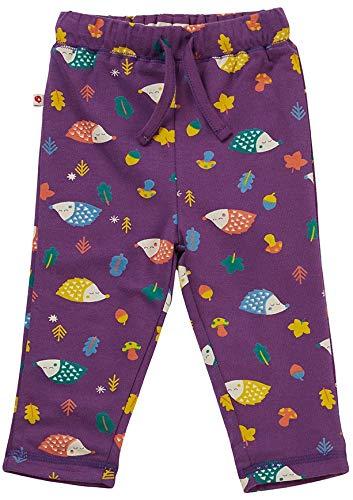 Piccalilly Pantalon réversible pour Enfant en Jersey Biologique Doux, Motif hérisson Violet pour garçons et Filles - Violet - 6-12 Mois