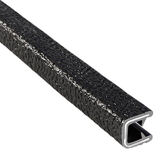 "Trim-Lok Edge Trim – Fits 1/4"" Edge, 1/2"" Leg Length, 25' Length, Black, Pebble Texture – Flexible PVC Edge Protector for Sharp/Rough Surfaces, Easy to Install"
