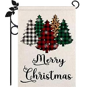 Christmas Garden Flag, Burlap Double-Sided Xmas Garden Flag with Buffalo Plaid Christmas Tree, Holiday Xmas Garden Flag, Outdoor Garden Decoration Seasonal Home Decor Yard Flag 12.5 X 18 Inch