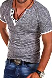 MT Styles V-Neck Buttons T-Shirt Polo BS-544 [Grau, L]