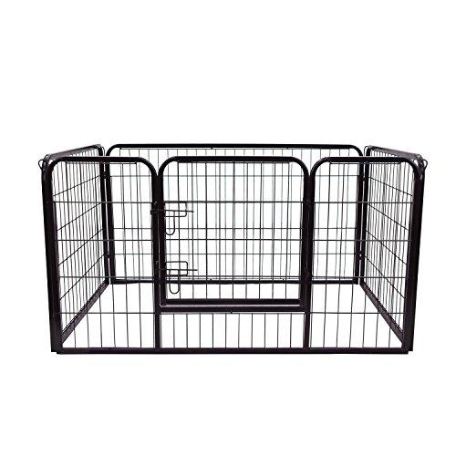 HOMCOM PawHut Parque para Mascotas Rectangular Jaula para Perros 4 Vallas de Metal con Puerta y Doble Cerradura Cerca de Entrenamiento 129x84x70 cm Negro