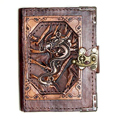Handgefertigtes Tagebuch aus echtem Schafsleder, Notizblock, Skizzenbuch, Skizzenbuch, Buchhülle, Vintage, Papier, einfarbig, für Damen, Herren, Kinder, Büro, Geschenk, chinesischer Drache