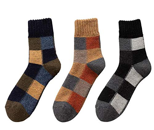 Jingyun 3 Paar Herren Herbst Winter Socken Warme Fluffing Socken Klassische Bequeme weiche Socken B02