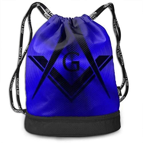 Sporttaschen, Rucksäcke,Girls & Boys Drawstring Sack Beam Backpack, Traveling Shoulder Bags - Freemason Logo Square and Compass Royal Blue Waterproof Backpack Soccer Basketball Bag