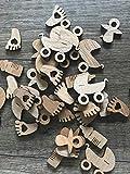 50 Streudeko Holz Teile Babyset Set Tischdeko Baby Schnuller Füßchen Geburt Taufe Deko Natur